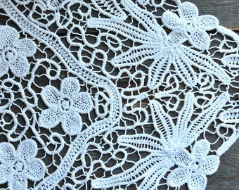 Vintage large lace tablecloth, white floral hand made lace tablecloth