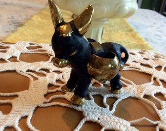 Vintage cast brass donkey toothpick holder