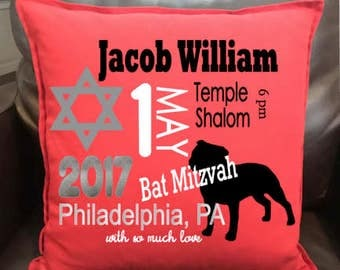 Personalized Bar Mitzvah, Bat Mitzvah invitation details pillows