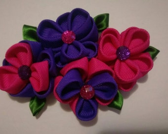 Pink and purple bouquet bow