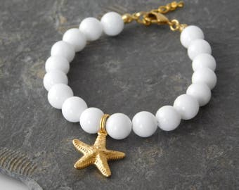 starfish bracelet white coral/gold