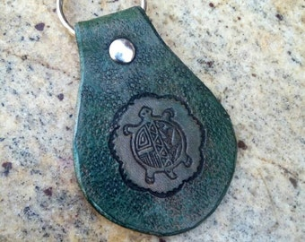 Handmade leather keychain, green turtle leather key fob, one of a kind leather keychain retro style