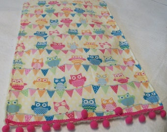 Yellow and Pink Owl Burpcloth with Ball Fringe