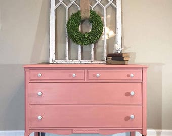 Bedroom Dresser   Solid Wood Painted Antique Coral Dresser/Chest With Wood  Stained Legs,