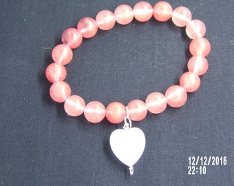 B1241 Pink Glass Bracelet with Frosted Glass Heart Charm.