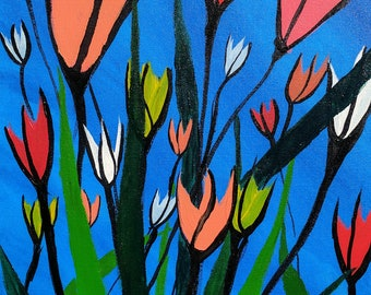 """Acrylic painting on canvas - """"tulips too"""""""