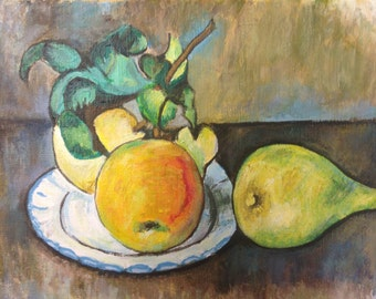 Hand Painted Paul Cezanne Still Life With Apples Reproduction By JPK Artwork