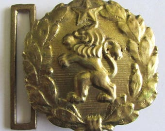 Rare Vintage Bulgaria Army Military Officer parade Bronze belt buckle