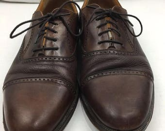 "Mezlan ""Florence"" Brown Leather Cap Toe Oxfords, Mens Size 9M, Made In Spain"