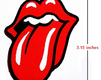 Rolling Stones Rock Band Logo Embroidery iron-sewing-patch on farbric.