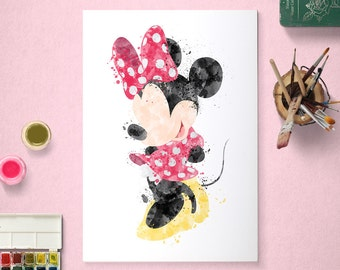 Minnie Mouse, Disney Poster, Watercolour Art, Printable Instant Download