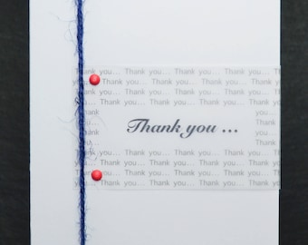 THANK YOU … with Blue Jute String on WHITE Card