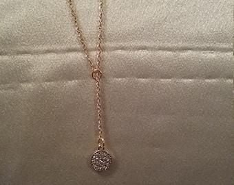Golden rhinestone drop pendant. Now on sale.  Was 13.95 now 12.95