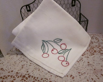 Hand Embroidery Tea Towel- Red Cherries