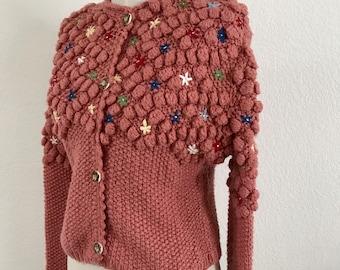 1940s - Handmade puff sweater - vintage cardigan - rose - Vintage crochet