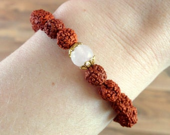 Parvati. Goddess of love | Rose Quartz | Rudraksha bracelet | Yoga jewelry | Yoga jewelry