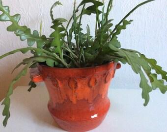 Vintage red orange Ruscha ceramic planter 70s