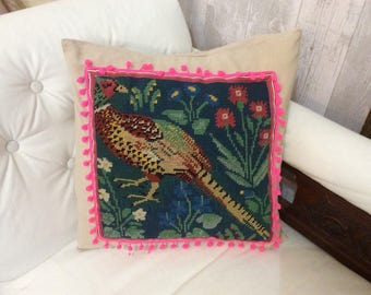 Amazing pheasant tapestry cushion with fluro pom pom border