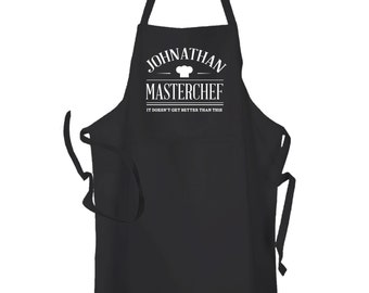 Personalised Black Master Chef Kitchen Cuisine Cooking Chef BBq Apron by Inspired Creative Design