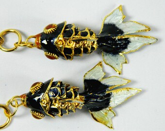 A Pair Of Deep Blue Cloisonne Copper Enamel Articulated Goldfish Koi Fish Figurine,Making Pendant & Earrings Eardrops,Decoration Ornament,