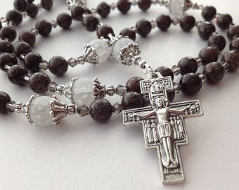 Brown Jasper Gemstone Rosary, St Padre Pio Catholic Rosary, 5 Decade Franciscan Rosary, San Damiano Crucifix Rosary