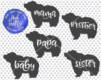 Papa Bear SVG, Mama Bear SVG, Baby Bear SVG, Bear Family Svg, Bear Silhouette Svg, Papa Bear Cutting File, Mama Bear Cut File, Brother Bear