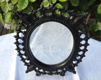 Vintage Fleur De Lis Metal Mirror, Vintage Mirror with Fleur De Lis