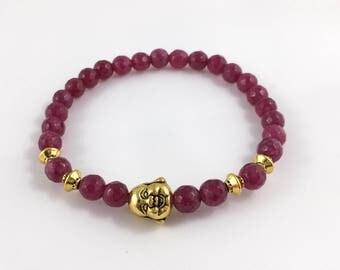 Dark Pink Jade with Golden Buddha