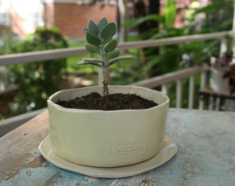 Pot with dish//pot//planter//Ceramic planter//flowerpot