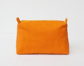 Orange makeup bag, travel pouch, cosmetic pouch,pencil case