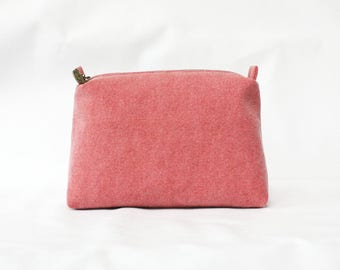 Canvas Pink Pouch, pink pouch, travel pouch, makeup bag, vintage pink pouch