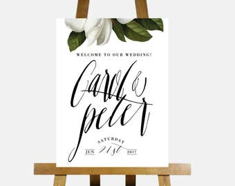 Printable Wedding Welcome Sign,Customized Wedding Signage,DIY digital Reception Sign,WHITE MAGNOLIAWedding Decoration,welcome to our wedding