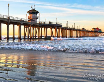"Huntington Beach Pier Photo  | ""Pier Sunrise Glow"" | Beach Wall Art | Huntington Beach Print - Pier Sunrise Photo - Huntington Beach Art"