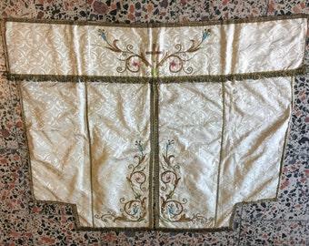 Vintage Silk Textile,Silk Embodery,Priest Dress, Atlas Textile,Antique Piece,2'10x3'5''Feet 86x104 cm