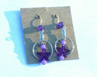 Purple Star Bead Hoop Earrings
