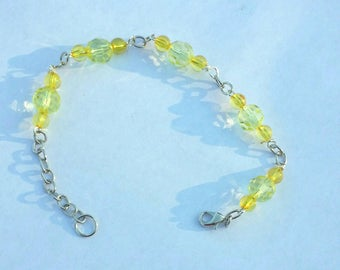 Yellow Bead Chain Link Bracelet