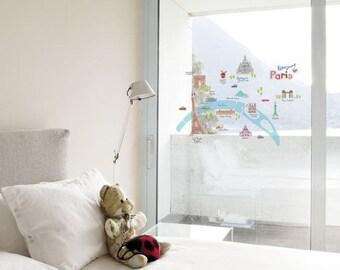paris decals/paris france decals stickers/paris france wall decor/travel window decals/paris france decals/paris france mural sticker decal