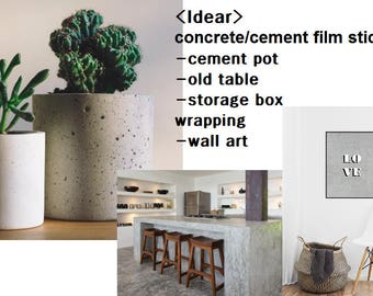 concrete film/cement decor/cement planter/industrial decor/cement pot diy/Peel Stick/vintage decor concrete Wallpaper/concrete sticker decal
