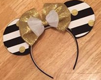 Black, Gold, and White Minnie Mouse Ears Headband
