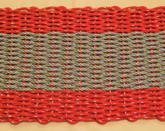 "Large Red/ Grey Hand Woven Door Mat 20"" X 36"""