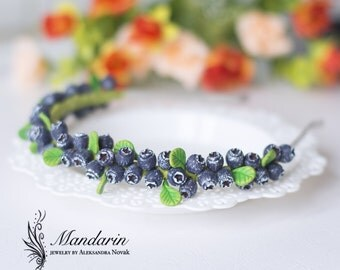 The blueberry headband - hair accessory - summer forest jewelry -miniature jewelry
