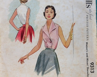 McCall's Vintage Blouse Pattern 9313