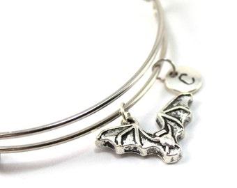 BAT bracelet, silver bat bangle, bat charm, initial bracelet, adjustable bangle, personalized jewelry, swarovski birthstone, gift for her