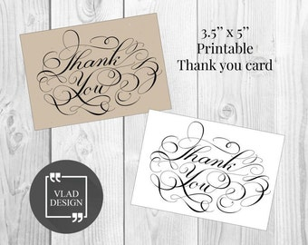 3.5'' x 5'' Thank you card Wedding cards Gift card Thanks cards Printable thank you cards DIY wedding thanksgiving holiday