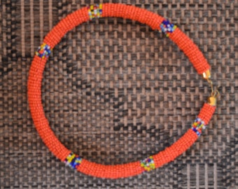 African Maasai Beaded Necklace | African Jewelry | Tribal Necklace | Ethnic Necklace | Orange Necklace | One Size Fits All | Gift For Her