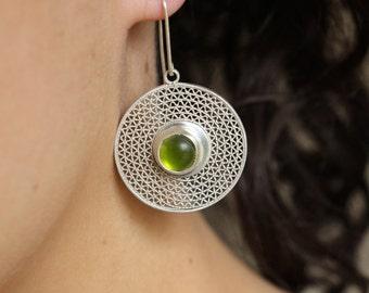 "Earrings ""Bubbles Green Enzigzag"", Silver 925, Watermark, Cabochon glass green"