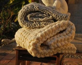 Big knit Plaid mesh 100% alpaca of the Peru