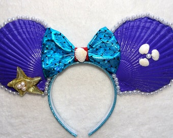 Mickey Mouse Headband Minnie Mouse Ears Disney Little mermaid Princess Ariel Inspired Headband Shell Headband
