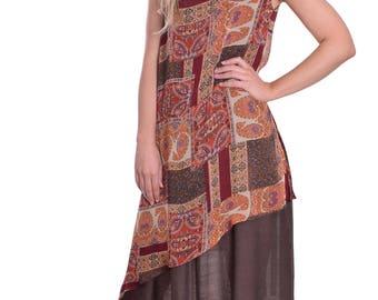 Light Cool Summer Maxi Dress Asymmetric Chiffon Double Layer Lagenlook Coffee Terracotta