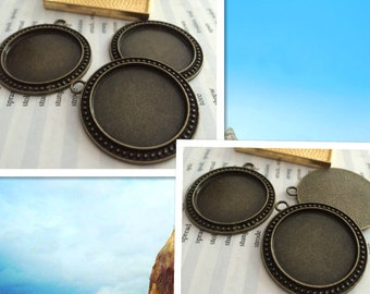 10 Pieces /Lot Antique Bronze Plated 30mm cabochon trays charms